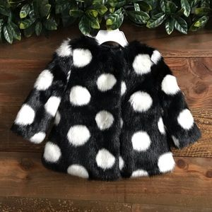 KATE SPADE New York Girls Faux Fur Polka Dot Coat